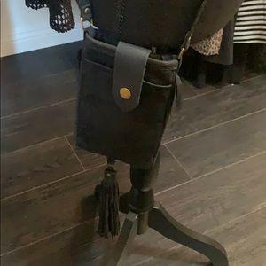 Handbags - Cross body leather phone/money carrier w/fringe